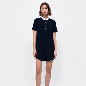 NWT Zara Size S Colorblock White Collar Mini Dress